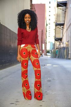 Dolman sleeve sweater and African print trousers :) African Print Pants, African Print Fashion, Fashion Prints, Fashion Design, African Prints, Ankara Fashion, Fashion Styles, African Attire, African Dress