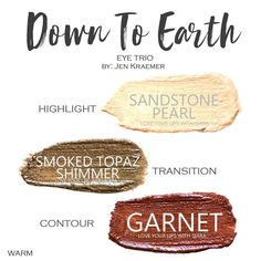 Down to Earth Eye Trio uses three SeneGence ShadowSense : Sandstone Pearl, Smoked Topaz Shimmer and Garnet. These creme to powder eyeshadows will last ALL DAY on your eye. #shadowsense #trio  #eyeshadow