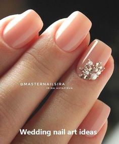 Simple Nail Designs For Long Nails. Some people may believe of beauty accessorie… Simple Nail Designs For Long Nails. Simple Wedding Nails, Natural Wedding Nails, Wedding Nails Design, Simple Nails, Natural Nails, Wedding Nails Art, Bridal Nail Art, Frensh Nails, Manicures