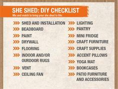 She Shed DIY Checklist