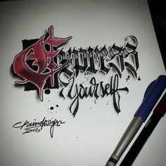 "486 Likes, 5 Comments - Paindesignart Graff (@paindesignart) on Instagram: ""'Express yourself' #calligraphy #calligraphymasters #calligraffiti #effect #3d #handmade…"""