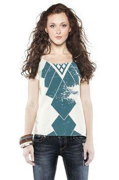 Neary T-Shirt: White Scoop-Neck Tee + Steel Blue Blanket Design - Raven + Lily, empowering women through fashion