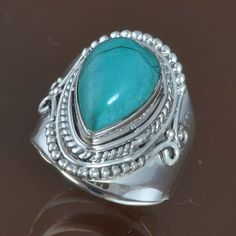 HOT SELL 925 SOLID STERLING SILVER Turquoise FANCY RING 6.25g DJR9533 SZ-7 #Handmade #Ring