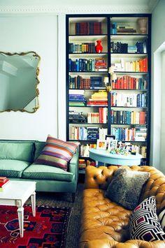 black trim white guts/// Making Billy Bookshelves Look Like Built-Ins