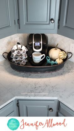 4 Ways to style Decorative Trays by Jennifer Allwood of http://theMagicBrushinc.com. This table decor functions as a coffee station. Tray Decor is a fun way to decorate for fall and the holidays, style coffee tables and counters. Just put a cute tray under it and make it table decor! Decor For Kitchen Counters, Coffee Kitchen Decor, Countertop Decor, Coffe Decor, Coffee Corner Kitchen, Kitchen Countertop Organization, Kitchen Redo, Fall Kitchen Decor, Coffee Station Kitchen