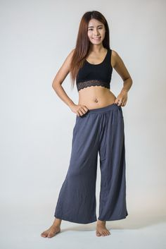 Wide Leg Palazzo Harem Pants Cotton Solid Gray