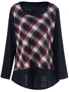 GET $50 NOW | Join RoseGal: Get YOUR $50 NOW!http://www.rosegal.com/plus-size-tops/plus-size-plaid-patchwork-tee-859088.html?seid=807197rg859088