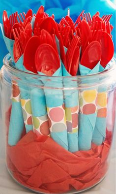Dr. Seuss Themed Birthday Party - Kara's Party Ideas - The Place for All Things Party...I would use different ribbon but love the idea!!