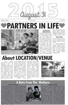 Like this newspaper? Give us a call and we can help you personalize it for your special day! JS Printing 866-435-7577