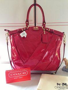 NWT Coach Madison Diagonal Pleated Patent Leather Lindsey Handbag  21299