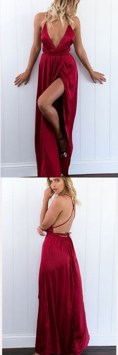 Formal Open Back Prom Dresses,Red V Neck Prom Gowns,Sexy Slit Prom Dress,SIMI615	#RosyProm #promdress #promgown #longpromdress #simplepromgown #charmingpartydress #eleganteveningdress #backlesspromdress #Vneckpromgown