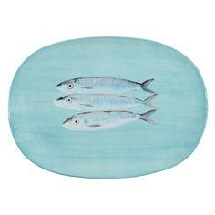 Piatto con pesci in maiolica 21 x 33 cm MEDITERRANÉE   - Venduto x 4