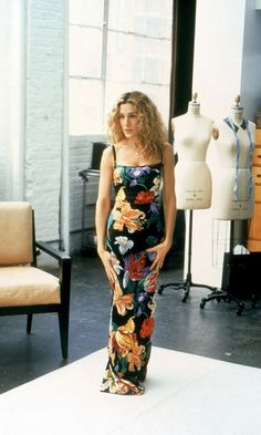 Carrie Bradshaw Wearing A Dolce & Gabbana Floral Dress At Her Fitting For The Celebrity Catwalk Show, Season 4