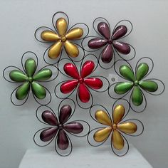 """Price: $31.50  METAL WALL DECOR WITH FLOWERS  33"""" X 29"""" Metal Wall Decor, Metal Walls, Flowers, Crafts, Blue Prints, Manualidades, Handmade Crafts, Royal Icing Flowers, Craft"""
