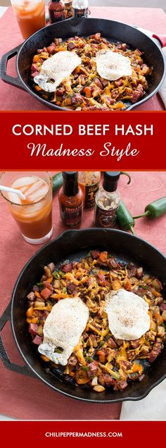 Spice up your corned beef breakfast hash with this recipe, done up Madness style. Weve incorporated Cajun spices, spicy peppers and plenty of your favorite hot sauce. Get cooking! Spicy Chicken Recipes, Jalapeno Recipes, Cajun Recipes, Irish Recipes, Corned Beef Hash, Corned Beef Recipes, Best Breakfast Recipes, Brunch Recipes, Sweets Recipes