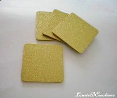 GOLD GLITTER COASTERS  Large Square Drink by LaurieBCreations