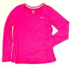 LOWEST❗️NWT NIKE DRI-FIT PINK TOP Brand new with tags Nike dri-fit pink top Nike Tops Tees - Long Sleeve