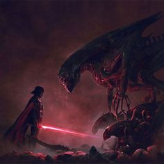 My dream crossover. The Alien franchise is one of my favourites. Darth Vader vs the Xenomorph Queen. Credit: Guillem H. Anakin Vader, Vader Star Wars, Anakin Skywalker, Darth Vader Suit, Darth Vader Artwork, Alien Vs Predator, Fantasy Kunst, Fantasy Art, Colorful Animal Paintings