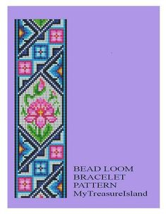Bead Loom Antique Motif 2 Bracelet Pattern PDF 2 Color Versions in Blue and in Lavender 2 PDF'S
