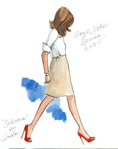 Sketch by #inslee of some great tangerine pumps with gold detail! @Inslee Haynes