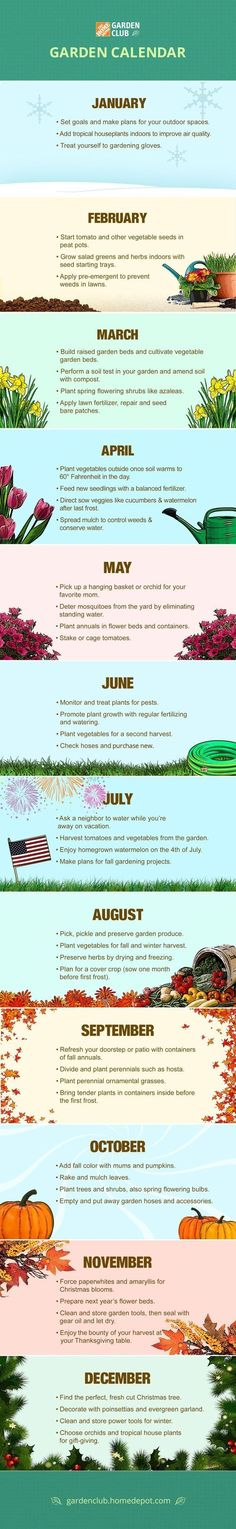 Keep your garden calendar as close as your Pinterest page when you save and share this Garden Club calendar infographic from The Home Depot. #organicgardening