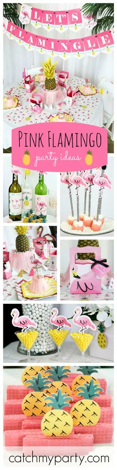 If your planning on having a Pink Flamingo and Pineapple Party then you don\'t want to miss out on this gorgeous party for inspiration. The toppers are just so cute! See more party ideas at CatchMyParty.com