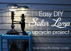 DIY Outdoor Solar Lamp DIY Lucky me, I have at least 2 lamps that are going to be repurposed for this DIY! Outdoor Solar Lamps, Outdoor Lighting, Lighting Ideas, Backyard Lighting, Solar Light Crafts, Diy Solar, Backyard Projects, Outdoor Projects, Outdoor Ideas