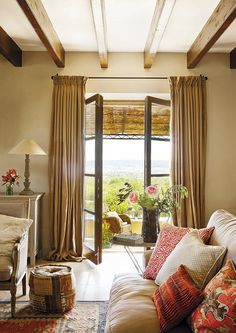 Dream Villa in Mallorca, Spain. Great interiors with French doors. - Gorgeous restored French doors with linen draperies. Living Area, Living Room Decor, Living Spaces, Luxury Interior Design, Interior And Exterior, D House, Slow Living, French Doors, My Dream Home
