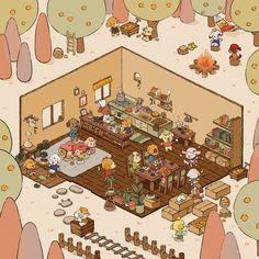 Orange Doggies - Back, an art print by Hatsu Midori Bee Games, 2d Game Art, 2d Art, Happy Lunar New Year, Isometric Art, Drawing Expressions, Environment Concept Art, Concept Architecture, Environmental Art