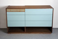 #Wood storage furniture: Fleur De Noyer Chest of Drawers Azure