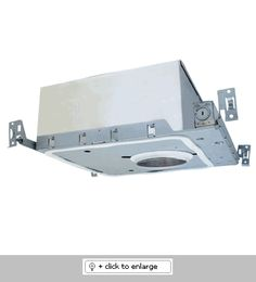 """4"""" Double Wall New Construction IC Housing for GU10 Base MR16    Height : 7 1/4"""", Opening: 4 1/4""""   Box size: 13""""L x 14""""W x 5 1/2""""H   Lamp: 50W MAX. 120V GU10 base MR16 lamp   IC Housing with thermal protector.   Supplied with captive bar hangers for 24"""" joist spacing.   UL listed for damp locations and direct contact with insulation.    Only works with 4"""" LOW voltage trims"""