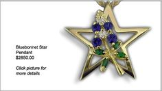 This 18kt green gold Bluebonnet Star Pendant blooms with four blue sapphires (approx. .70ct tw), two diamonds (.15ct tw) and four green tsavorite garnet leaves (.44ct tw).
