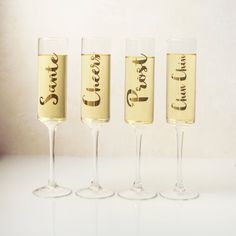 Shape up the fancy factor with these gold-accented hand-blown keepsake champagne flutes, good for celebrations for years to come. Note: This one-of-a-kind set is made with hand-blown glass. Clear Glass, Wine Glass, Champagne Flutes, Hand Blown Glass, Gold Accents, Cheers, Contemporary, Gifts, Irish Wedding