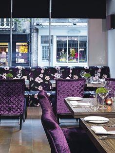 Scoff & Banter Restaurant at the Radisson Blu Mercer St. Plush violet velvet elegance
