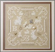 Sweetheart Tree B is for Bunny Teenie - Cross Stitch Kit. Complete kit includes 28 Ct. Summer Khaki Cashel linen, Sterling Bunnies charm, Ivory Pearl heart, 3mm