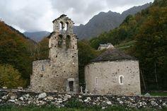 Knights templar vault in Aragnouet, Hautes Pyrénées, France.  Chapelle Notre Dame de l'Assomption du Plan (ou chapelle des Hospitaliers de Saint-Jean de Jérusalem).  It was build during XI and XII centuries.