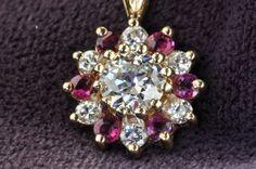 1.29 Ruby & Old European Cut Diamond Pendant