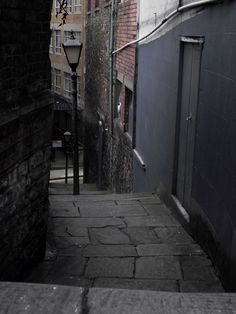 "Zed Alley in Bristol, UK - Bristol has several ""steppered"" alleys like this, the most notable being Christmas Steps."