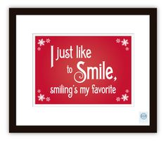 "Smiling's My Favorite 5x7"" Christmas Print - Elf Movie Quote (Rose)"