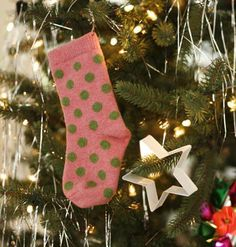Save mismatched socks, especially the cute ones, and hang on kids tree as ornaments.