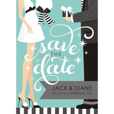 couple standing giving gifts with save the date text