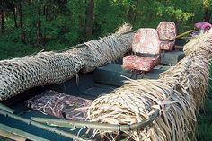 An article from Gun Dog Magazine that shows how to build your own grass boat blind. Duck Hunting Blinds, Duck Hunting Boat, Duck Blind Plans, Duck Boat Blind, Free Boat Plans, Wood Boat Plans, Sailboat Plans, Model Boat Plans, Boat Building Plans