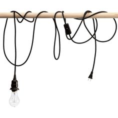 Black Fabric Covered Pendant Light Bulb on a Cord - perfect