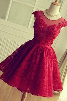 Red Prom Dresses #RedPromDresses, Prom Dresses For Teens #PromDressesForTeens, Prom Dresses Short #PromDressesShort, Lace Prom Dresses #LacePromDresses, Pretty Prom Dresses #PrettyPromDresses