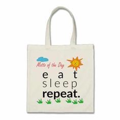 """Motto of the Day: Eat, Sleep, Repeat"" Funny retirement sayings bag (Best retirement gifts for women)"