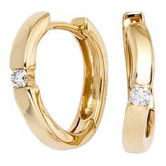 Dreambase Damen-Ohrschmuck Creole 2 Diamant-Brillanten 14 Karat (585) Gelbgold 0.08 ct. Dreambase http://www.amazon.de/dp/B00EYGSVPM/?m=A37R2BYHN7XPNV