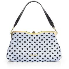 Miu Miu Dot Jacquard and Leather Framed Clutch ($1,790) ❤ liked on Polyvore featuring bags, handbags, clutches, bolsas, sacs, blue, vintage handbags, vintage handbags purses, blue leather handbag and blue clutches