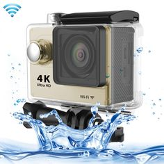 [$58.20] H9 4K Ultra HD1080P 12MP 2 inch LCD Screen WiFi Sports Camera, 170 Degrees Wide Angle Lens, 30m Waterproof(Gold)