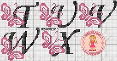 Butterfly Letters T-X Cross Stitching, Cross Stitch Embroidery, Embroidery Patterns, Stitch Patterns, Cross Stitch Letters, Cross Stitch Baby, Butterfly Cross Stitch, Cross Stitch Flowers, Graph Design
