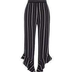 River Island Navy stripe frill hem cropped pants ($80) ❤ liked on Polyvore featuring pants, capris, bottoms, cropped trousers, navy, women, high waisted trousers, high-waist trousers, high waisted cropped trousers and striped pants